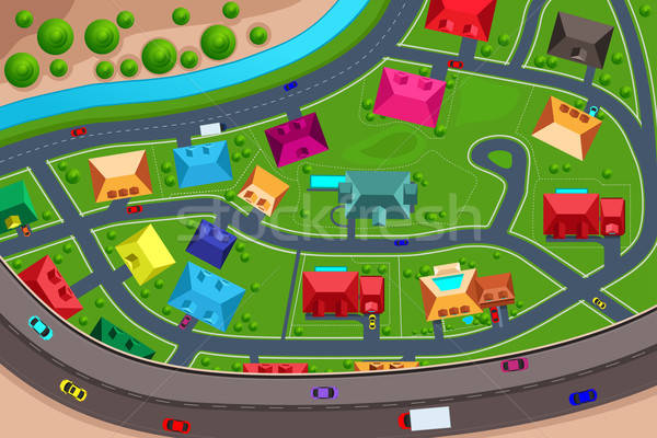 Houses in suburban viewed from above Stock photo © artisticco