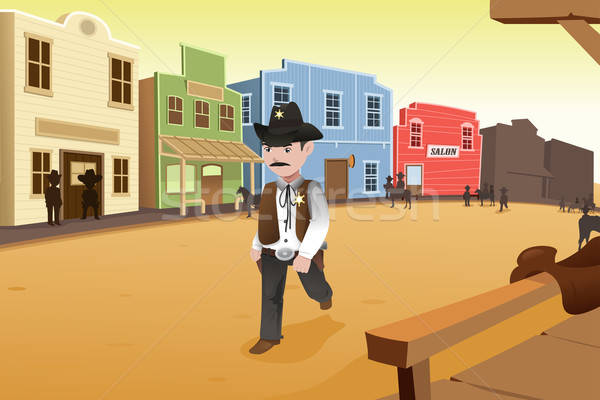 Sheriff walking on an old western town Stock photo © artisticco