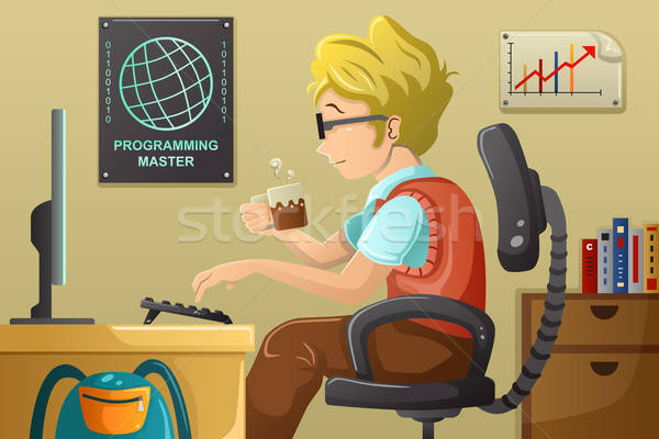 Computer programmer working on his computer Stock photo © artisticco