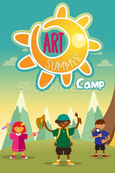 Kunst zomerkamp poster ontwerp kinderen achtergrond Stockfoto © artisticco