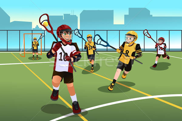 Kids playing lacrosse Stock photo © artisticco