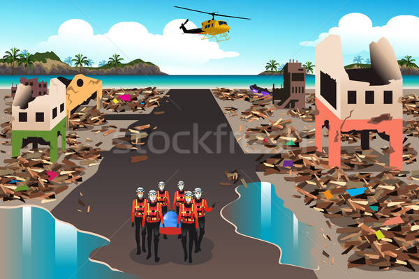 Rescue Teams Searching Through the Destroyed Building Stock photo © artisticco