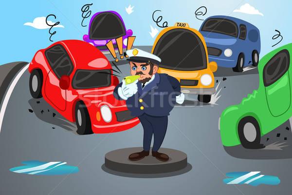 Terug naar school direct verkeer politieagent drukke stad Stockfoto © artisticco