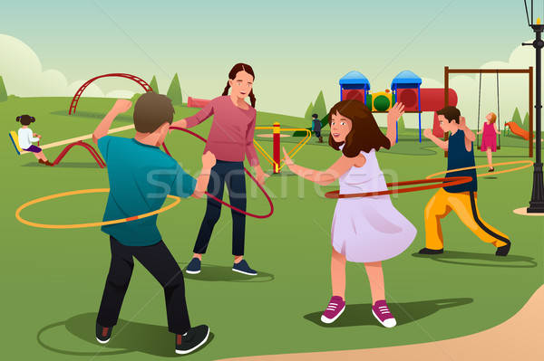 Children Playing Hula Hoop Stock photo © artisticco