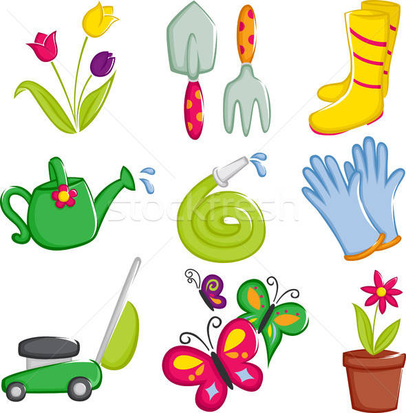Spring gardening icons Stock photo © artisticco