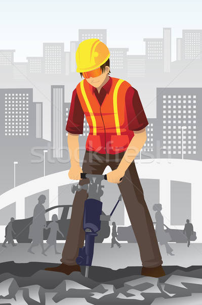 Road construction worker Stock photo © artisticco