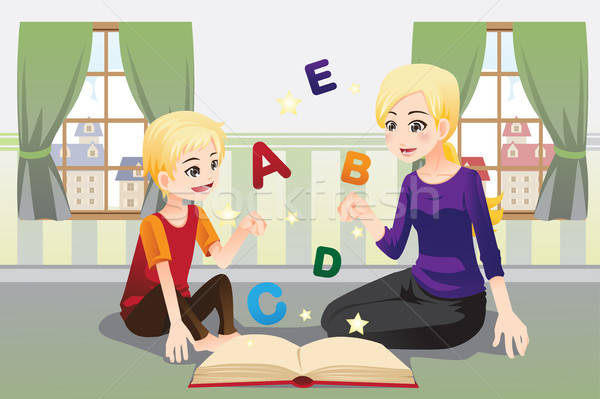 Mutter Lehre Kind Alphabet Briefe Familie Stock foto © artisticco