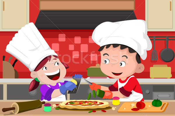Сток-фото: дети · пиццы · кухне · счастливым