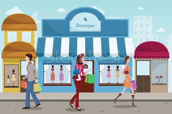 Pessoas compras ao ar livre shopping francês boutique Foto stock © artisticco