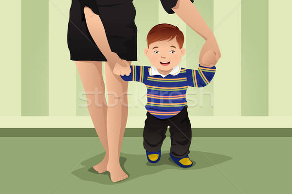 Mother helping her baby boy learning to walk Stock photo © artisticco