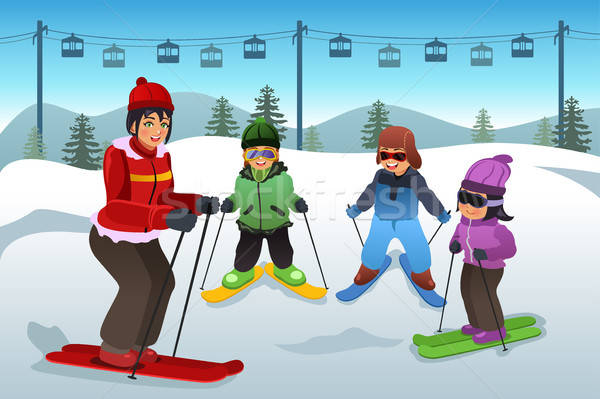 Ski Instructor Teaching Children Stock photo © artisticco