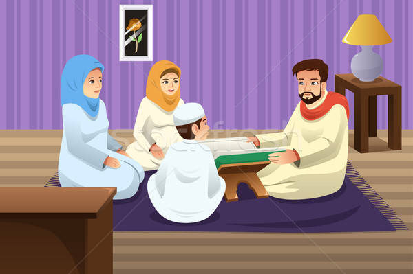 Muslim Family Studying Quran at Home Stock photo © artisticco
