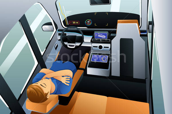 Man Sleeping in Self Driving Car Illustration Stock photo © artisticco