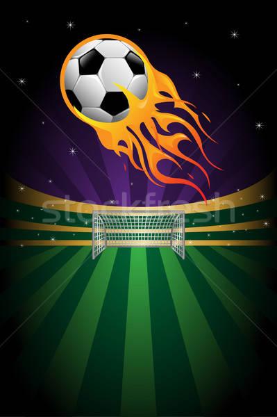 Foto stock: Fútbol · llameante · deporte · fondo · estadio · anunciante