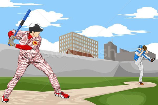 Baseball gracze ludzi gry mężczyzn piłka Zdjęcia stock © artisticco