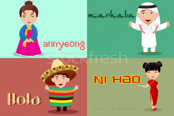 People from different cultures saying hello Stock photo © artisticco
