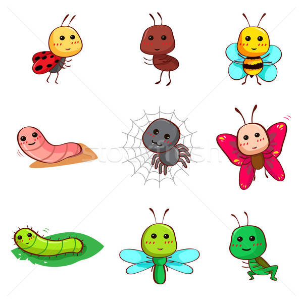 Cute cartoon insectes bugs icône animaux Photo stock © artisticco