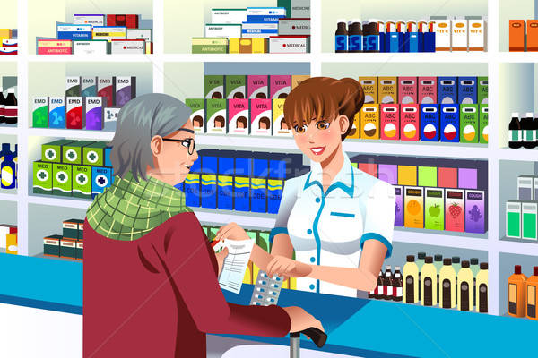 Pharmacist helping an elderly person  Stock photo © artisticco