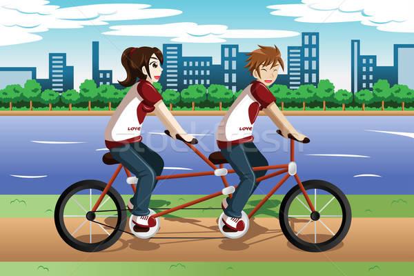 верховая езда тандем велосипедов девушки человека Сток-фото © artisticco