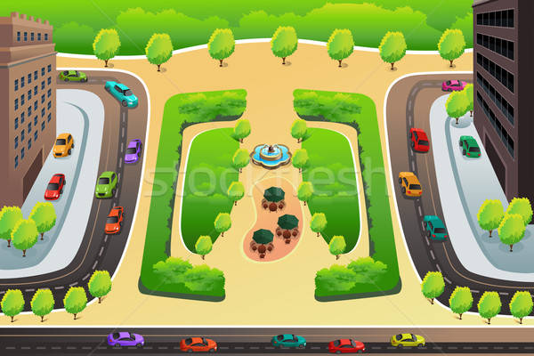 View of a highway and a park from above Stock photo © artisticco