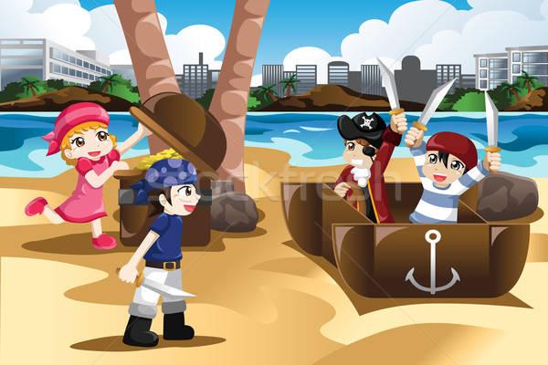 Kinder spielen Piraten glücklich Piraten Strand Stock foto © artisticco