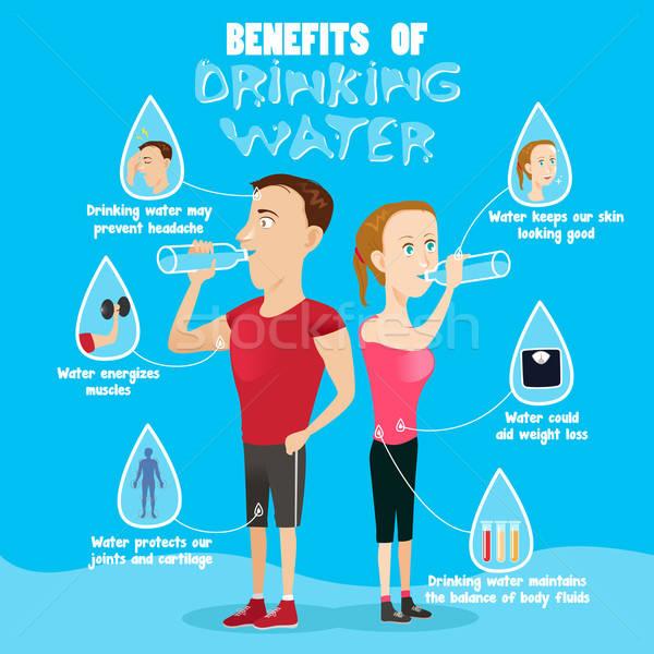 Korzyści woda pitna zdrowia pić cartoon Zdjęcia stock © artisticco