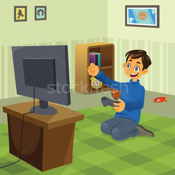 Erkek oynama video oyunu ev çocuk Stok fotoğraf © artisticco