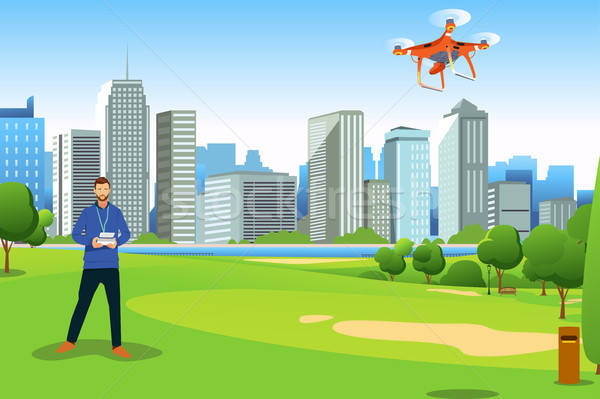 Man Flying Drone in a Park Illustration Stock photo © artisticco