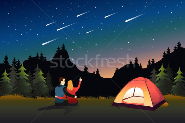 Couple Watching Meteor Shower While Camping Stock photo © artisticco