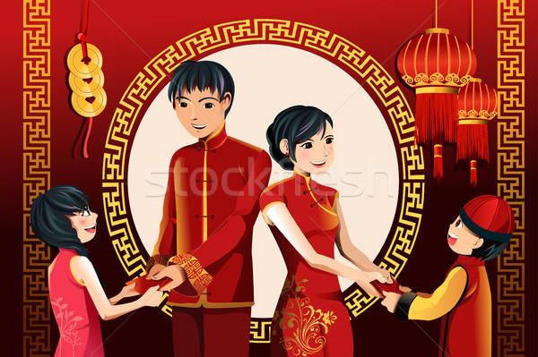 Kínai új év ünneplés ázsiai szülők gyerekek piros Stock fotó © artisticco