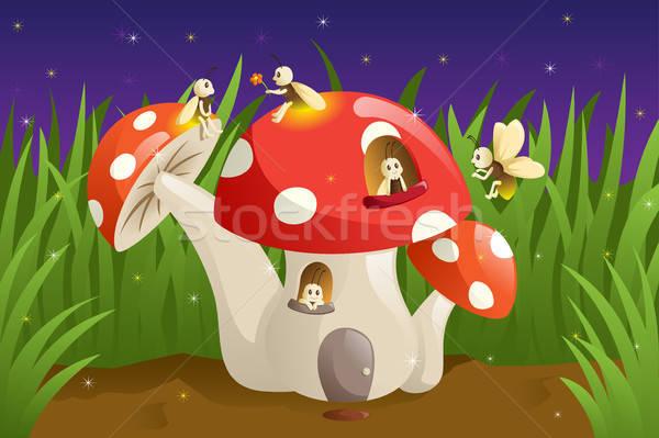 Champignons maison ciel herbe étoiles lumières Photo stock © artisticco