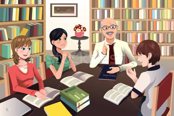 College studenten discussie hoogleraar bibliotheek vergadering Stockfoto © artisticco