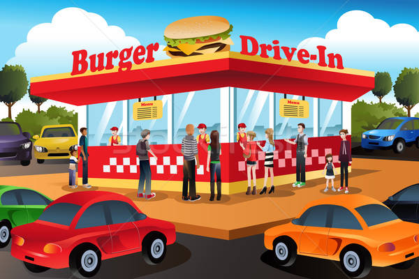 People ordering hamburger at a drive-in hamburger restaurant Stock photo © artisticco