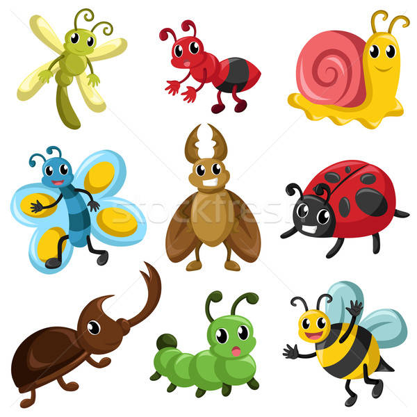 Bug iconen icon vlinder cartoon slak Stockfoto © artisticco