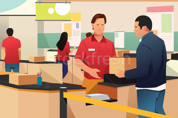 Man Shipping a Box in Store Illustration Stock photo © artisticco