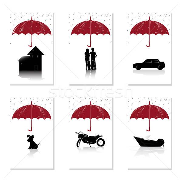 страхования набор дома люди Auto ПЭТ Сток-фото © artisticco