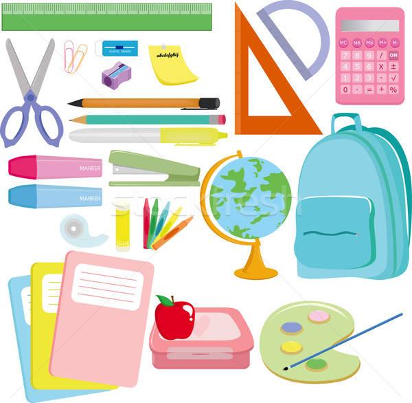 Schoolbenodigdheden variëteit appel verf potlood onderwijs Stockfoto © artisticco