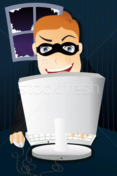 Ordinateur criminelle voler identité homme technologie Photo stock © artisticco
