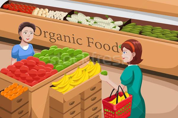 Insanlar alışveriş organik gıda koridor bakkal adam Stok fotoğraf © artisticco