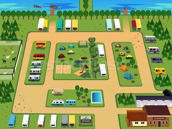 лагерь карта дизайна бассейна озеро ванную Сток-фото © artisticco