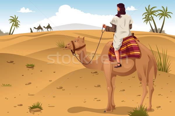 Binicilik deve çöl kum hayvan Stok fotoğraf © artisticco