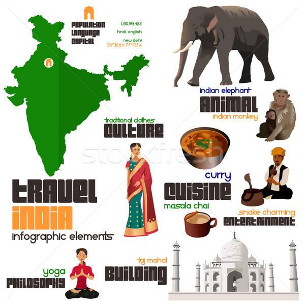 Elemanları Hindistan Bina bilgi Stok fotoğraf © artisticco