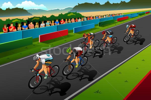 Personnes vélo concurrence sport exercice vélo Photo stock © artisticco