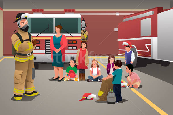Kids Visiting a Fire Station Stock photo © artisticco