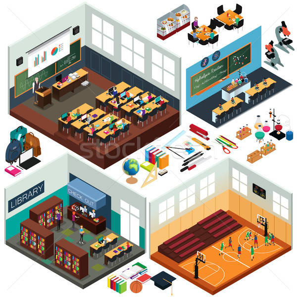 Isometric Design of School Buildings and Classrooms Stock photo © artisticco