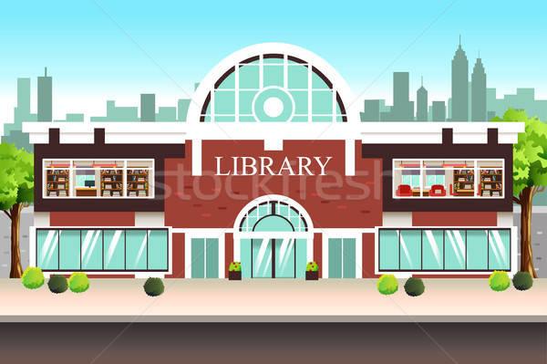 Nyilvános könyvtár épület illusztráció iskola építészet Stock fotó © artisticco