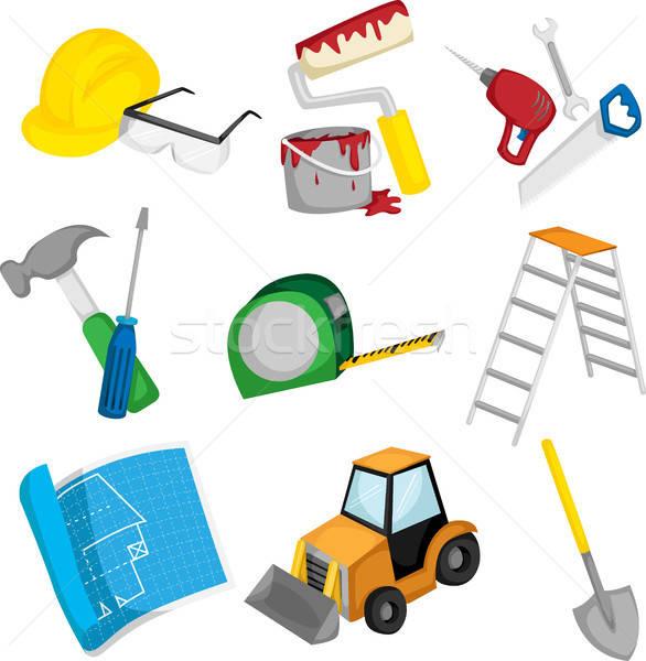 Budowy ikona kolekcja domu rysunek kask Zdjęcia stock © artisticco