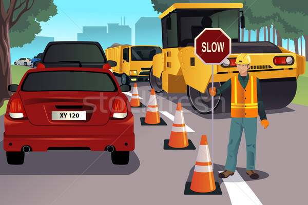 Flagger working on road construction Stock photo © artisticco