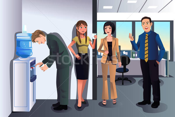 Business people chatting near a water cooler  Stock photo © artisticco