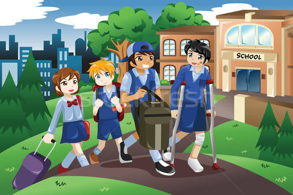 Sebesült gyerek sétál otthon iskola mankók Stock fotó © artisticco